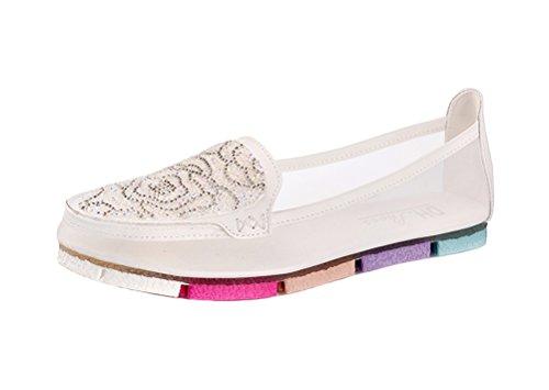 Women Summer Elegant Loafer Flats Low Top Gauze Mesh Rhinestones Ornament Sandal White 8M US by DUNHU