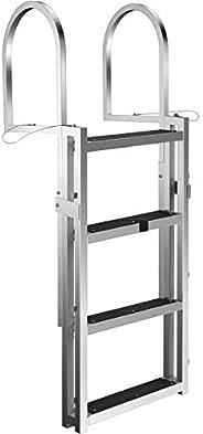 VEVOR Retractable Dock Ladder with Rubber Mat, Pontoon Boat Ladder Adjustable Height, Swim Ladder Aluminum