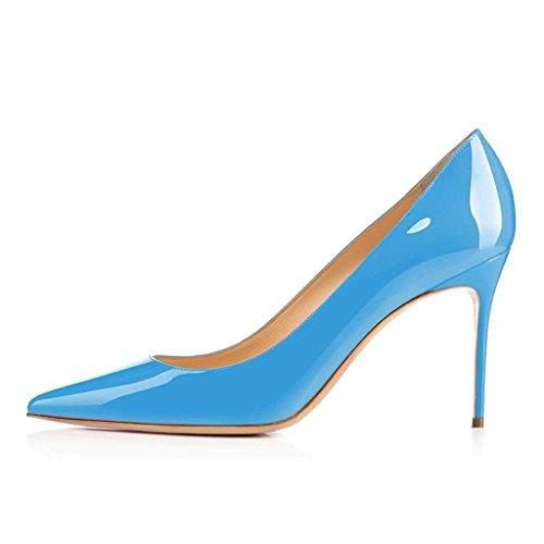 Zehe Damenschuhe Blau Spitz Stiletto Absatz Hoher EDEFS Heels Abendschuhe Büro Hochzeit Pumps 80mm wYxRqURpd