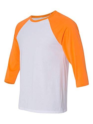 Bella 3200 Unisex 3 By 4 Sleeve Baseball Tee - White & Neon Orange44; Large