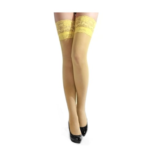 7a2b38dc56a56 FUNOC Sexy Women Ultrathin Lace Top Sheer Thigh High Stockings (Yellow)
