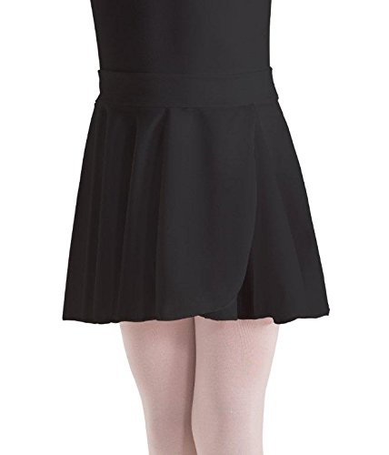 Motionwear Mock Wrap Pull On Waist Crepe Skirt, Black, Large Adult