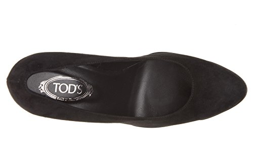 Tod's escarpins chaussures femme à talon en daim caoutchouc t95 noir
