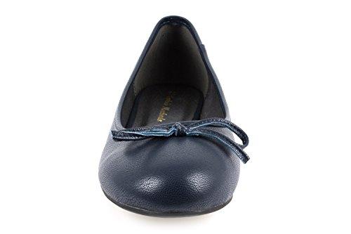 Ballerines classiques aspect cuir souple Bleu Marino.44