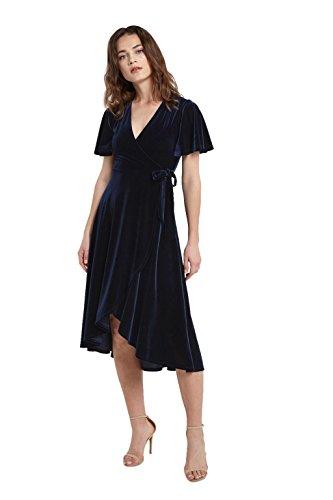 Short Sleeve Velvet Skirt - Poshsquare Women's Short Sleeve V Neck Midi Mock Wrap Knot Tie Velvet Swing Dress USA Navy L