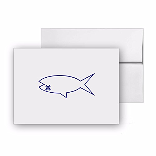 Dead Fish Catch Fishing Fisheries Fish, Blank Card Invitation Pack, 15 cards at 4x6, with White Envelopes, Item 546691 - Fisheries Supply
