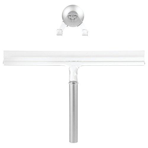 mDesign Lavavetri Doccia con Funzione Anticalcare - Tergivetro per pulizia bagno, cabina doccia e finestre – Con ventosa per appendere al muro - Colore: argentato, trasparente MetroDecor