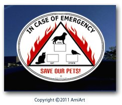 PET ALERT - Decal - Bumper Sticker, Fire Safety Dog Cat Pet Sign - IN