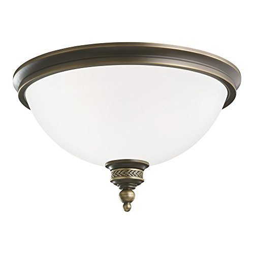 Sea Gull Lighting 75350-708 Laurel Leaf Two-Light Flush Mount Ceiling Light with Etched Ripple Glass Diffuser, Estate Bronze Finish