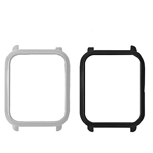 for Xiaomi Amazfit Bip Case, Lamshaw Frame Case Protective Hard PC Bumper Case for Xiaomi Huami Amazfit Bip Younth Watch (case-2 Pack-Silver+Black)