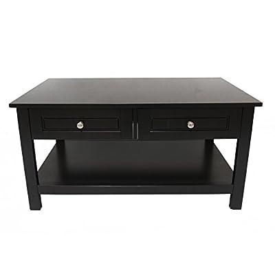 ELEGAN EBA02 Wood Contemporary Rectangular Coffee Table with Two Drawer Black Finish