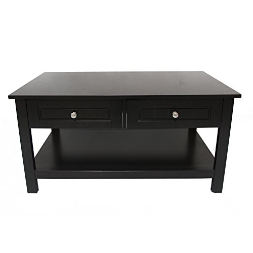 ELEGAN EBA02 Wood Contemporary Rectangular Coffee Table with Two Drawer Black Finish - Maple Modern Coffee Table