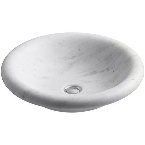 KOHLER K-2393-WH Botticelli Vessels 17 Inch Bathroom Sink, White Carrara Marble