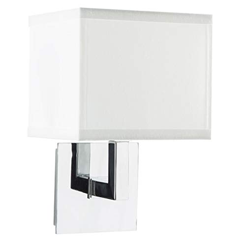 Sofia Wall Sconce Light - Chrome w/ White Fabric Shade - Linea di Liara LL-WL350-1-PC