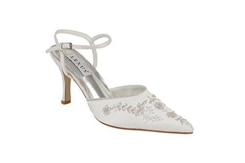 LEXUS - Zapatos de vestir de satén para mujer Marfil - Ivory