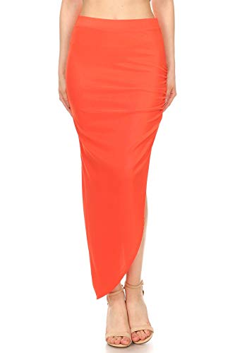 Sexy Side Split Solid High Rise Sexy Club Maxi Skirt (Large, Orange)