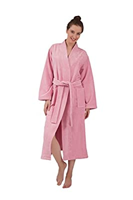 Bagno Milano Women's Robe, Turkish Cotton Soft Terry Velour Fleece Elegance Spa Bathrobe, Made in Turkey