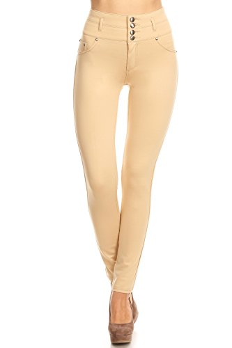 ICONOFLASH Women's High Waisted Stretch Skinny Ponte Knit Pants (Khaki, (Double Knit Skinny Pants)