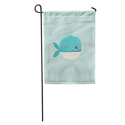- Semtomn Garden Flag Cartoon in Simple Childish Whale Nursery Room Stationery and Children Home Yard House Decor Barnner Outdoor Stand 12x18 Inches Flag