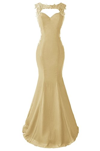 Topdress Women's Mermaid Prom Dress Lace Appliques Sheer Back Evening Gowns Champagne US 8 (Back Evening Gown)