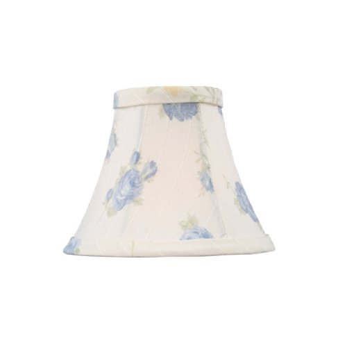 Livex Lighting S323 Bell Clip Chandelier Shade, White with Blue Floral Print Silk