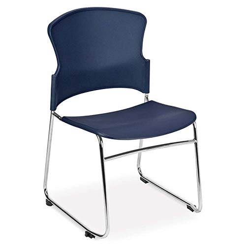 (OFM Plastic Stacking Chair in Navy (Set of 4))