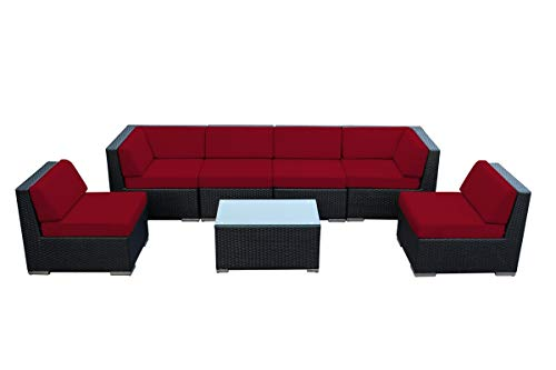 (Ohana 7-Piece Outdoor Patio Furniture Sectional Conversation Set, Black Wicker with Sunbrella Jockey Red Cushions - No Assembly with Free Patio Cover)