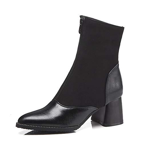 ZHZNVX Damenmode Stiefel PU Elastic Fabric Herbst & Winter Britische Stiefel Block Heel Spitz Mitte Stiefel Schwarz