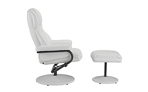 Office Swivel Chair with Footstool, Faux Leather Reclining Executive and Gaming Chairs (White)