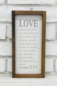 - Madi Kay Designs Love is Patient Love is Kind 1 Corinthians 13 Bible Verse Farmhouse Framed Wood Sign
