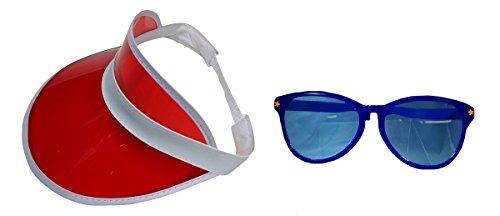 Red Clear Visor Goofy Blue Jumbo Sunglasses Fun July 4th Hat Costume - Glasses Big Goofy