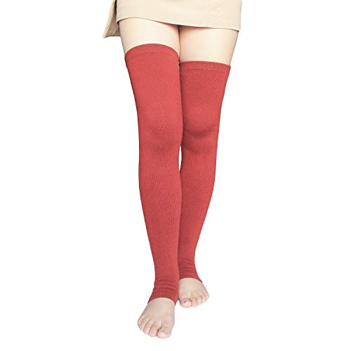 Share Maison Women's Cashmere Wool Winter Warm Knitted Over Knee High Boots Long Socks Leg Warmers (9-Wine Red)