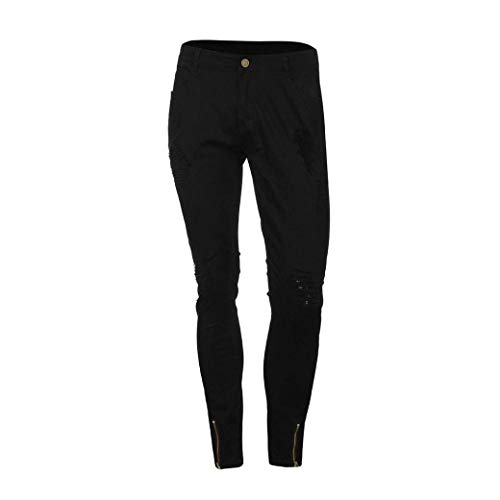 Rip Denim Skinny Slim Biker Distressed Casual Jeans Nero Fit Uomo Estate Pantaloni 1zFOqTq