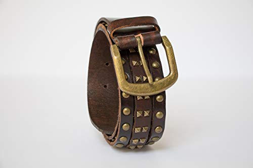 (3 Row Distressed Studded Leather Belt)