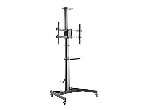 Monoprice Premium Height adjustable TV Display Cart for 37''?70'' Displays max 110 lbs with Portrait-to-Landscape Rotation | Hand Crank Height Adjustment | Cable Management by Monoprice