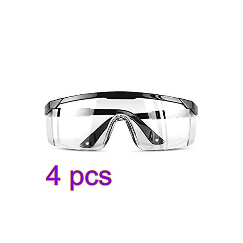 ALLOMN Transparent Goggles Clear Standard Safety Glasses Full Frame Adult Goggles Anti Frog Eyeglasses Anti Droplets Comfortable Glasses for Men Women Personal Protective Equipment 4 Pack