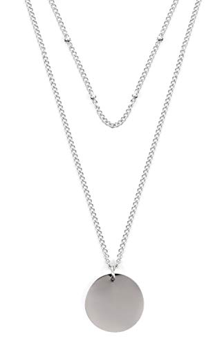 - Happiness Boutique Layered Necklace Circle Pendants in Silver Color | Double Row Necklace Round Disc Pendants
