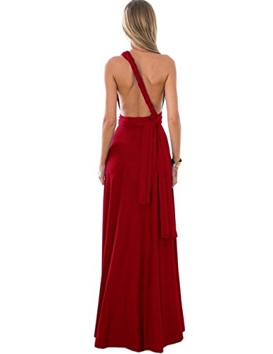 Sexyshine Women's Infinity Backless Gown Dress Multi-Way Wrap Halter Cocktail Dress Bandage Bridesmaid Long Dress (WR,M) -