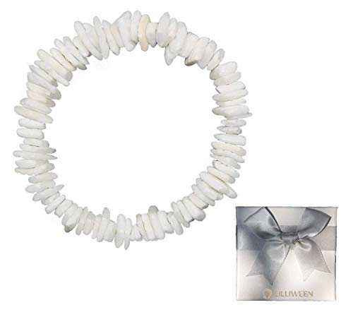Women's White Conch Shell Necklace Collar Necklace with Extension Chain Girls Men's Women Boys Origin Rose Hawaii Beach Adjustable Necklace Bracelet Anklet Earrings (Necklace Bracelet Earrings Shell)