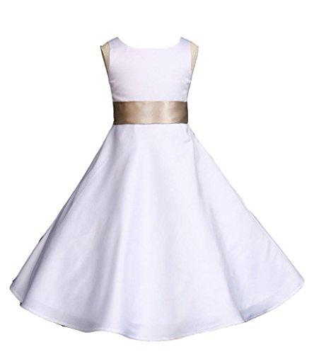 Wedding Pageant White A-Line Matte Satin Jr. Bridesmaid Flower Girl Dress ()