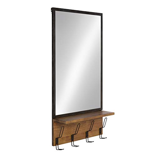 Kate and Laurel Coburn Distressed Metal Mirror with Wood Shelf and Hooks, Brown