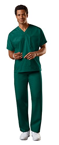 Cherokee Workwear Authentic Unisex V-Neck Top 4777 & Straight Leg Drawstring Pant 4100 Scrub Set (Hunter - X-Small/Small)