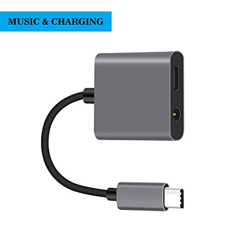 USB-C Audio Adapter with Charging,Zykio Type-C to 3.5 mm Converter Dongle for Google Pixel 3/3XL,2/2 XL, HTC U11,Huawei and Other Type C Cellphone (Space Grey)