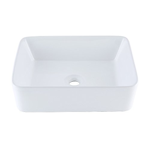 KES Bathroom Rectangular Porcelain Vessel Sink Above Counter White Countertop Bowl Sink for Lavatory Vanity Cabinet Contemporary Style, BVS110 (Compact Single Bowl)