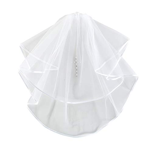 White First Communion Veil with Rhinestone and Faux
