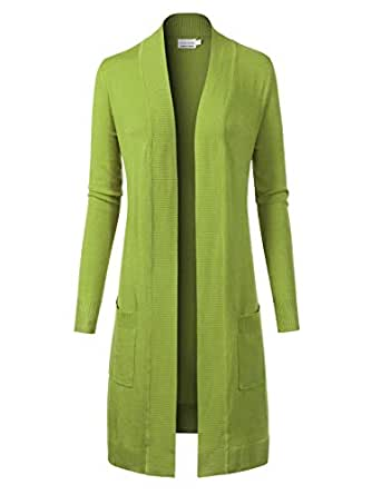 Instar Mode Women's Solid Soft Stretch Long-Line Long Sleeve Cardigan [S-XL] Lime XL
