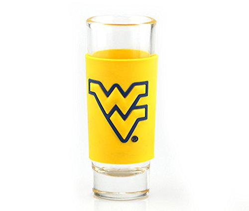 WEST VIRGINIA MOUNTAINEERS 2oz. NCAA PVC WRAP COLLECTOR (SHOT) GLASS