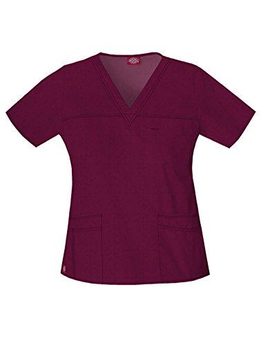 Dickies Women's GenFlex Junior-Fit V-Neck Scrub Shirt, Wine, XX-Small