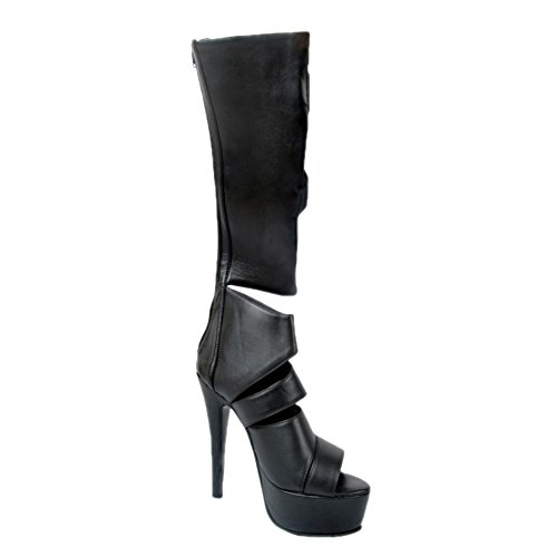 Kolnoo Womens Stiletto Gladiator Sandals Zipper Cross Stripe Peep Toe Knee High Thin Heel Platform Boots Party Shoes Black