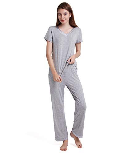 ENIDMIL Women's Pajama Set Bamboo Cotton Pajamas Women Short Sleeve V-Neck Sleepwear Loungewear Set Top and Pants PJ Set